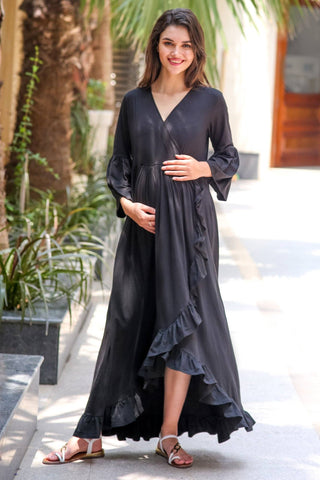 Black Lycra Maternity & Nursing Frill Wrap Dress