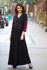 Elegant Black Red Crochet Maternity & Nursing Wrap Dress