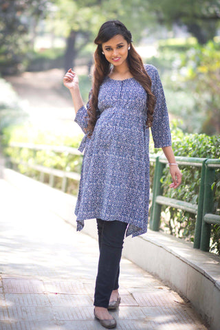 Blue Mesh Front Zip Maternity and Nursing Kurta