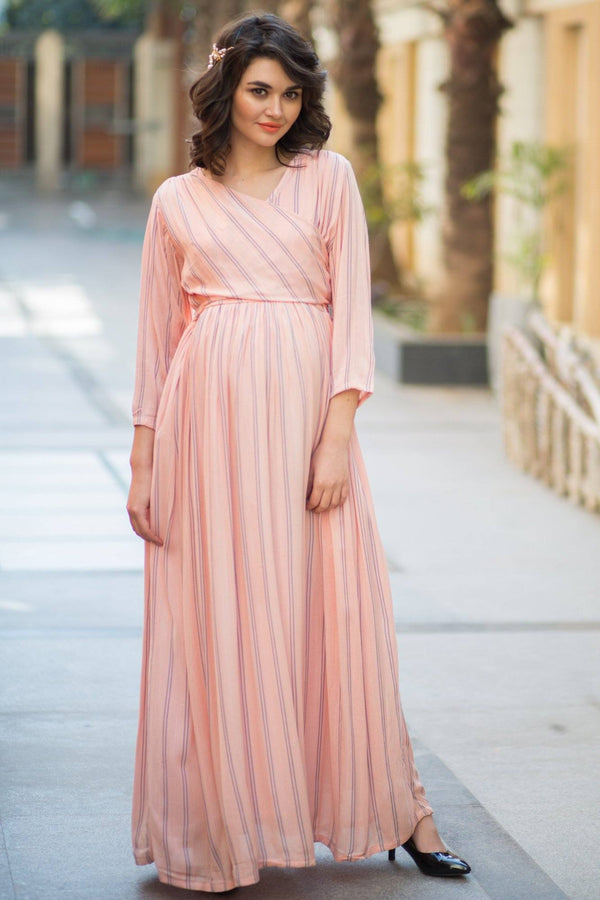 Peach Striped Maternity & Nursing Wrap Dress - MOMZJOY.COM