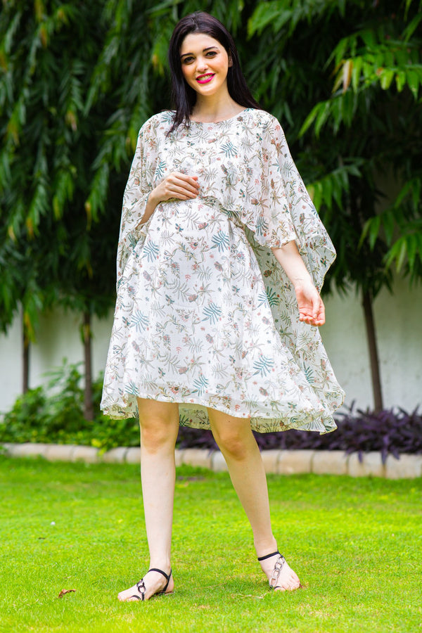 Angelic Leafy Maternity & Nursing Flap Dress
