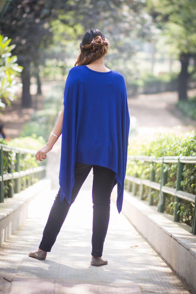 Free Size Deep Blue Maternity Poncho