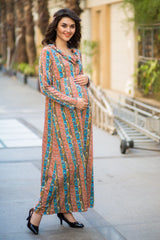 Printed Cowl Neck Off-shoulder Lycra Maternity Maxi Dress