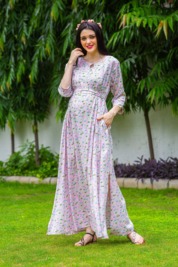 Pink Paisley Concealed Zips Maternity & Nursing Dress
