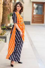 Tangerine Jade Striped Maternity & Nursing Wrap Dress