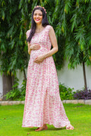 Toffee Pink Concealed Zips Maternity & Nursing Dress