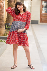 Cute Owl Print Maternity & Nursing Cotton Layer Dress