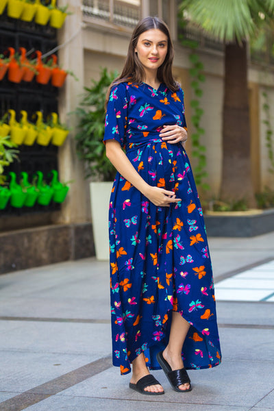 Midnight butterfly High-Low Maternity & Nursing Wrap Dress