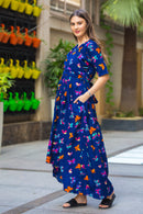 Midnight butterfly High-Low Maternity & Nursing Wrap Dress - MOMZJOY.COM