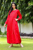 Premium Red Hand Embroidered Maternity Dress