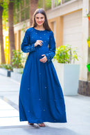 Premium Cobalt Blue Hand Embroidered  Maternity Dress - MOMZJOY.COM