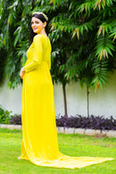Sunny Yellow Trail Maternity Photoshoot Gown