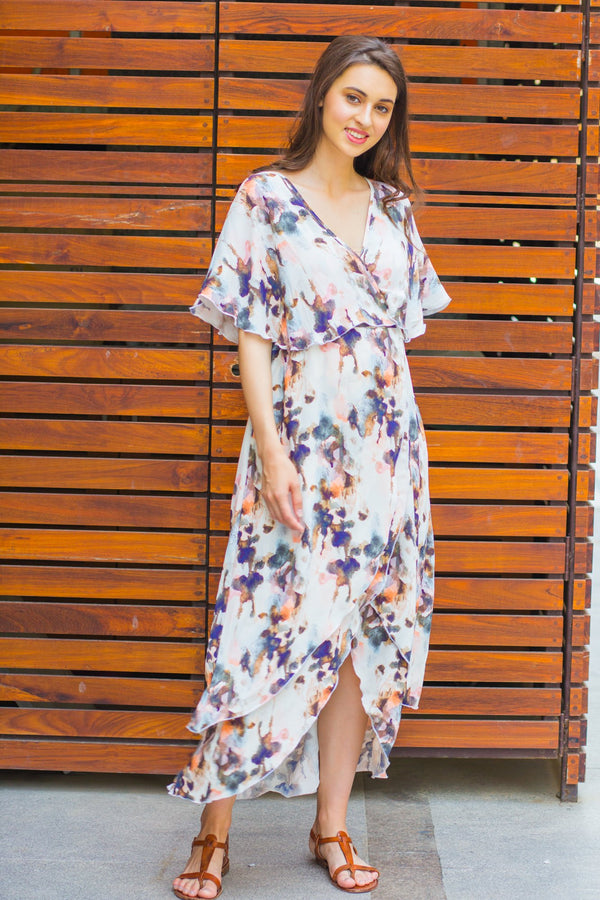 Watercolour Frost  Maternity & Nursing Layer Dress - MOMZJOY.COM