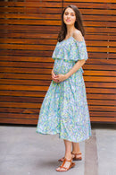 Fresh Leafy Cold Shoulder Maternity & Nursing Maxi