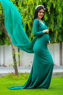 Emerald Green Trail Maternity Photoshoot Gown