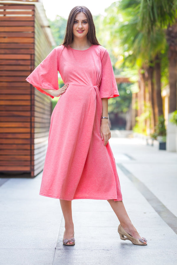 Pink blush Side Knot Maternity Dress - MOMZJOY.COM