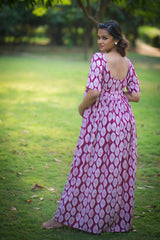 Berry Colored Gathered Maternity Maxi Dress
