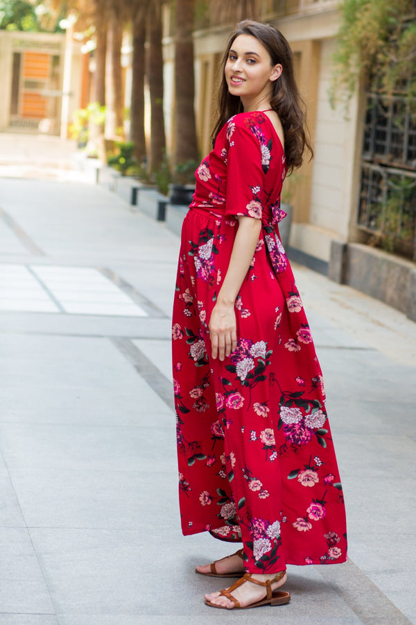 Luxe Red Floral Bubble Georgette Maternity & Nursing Wrap Dress