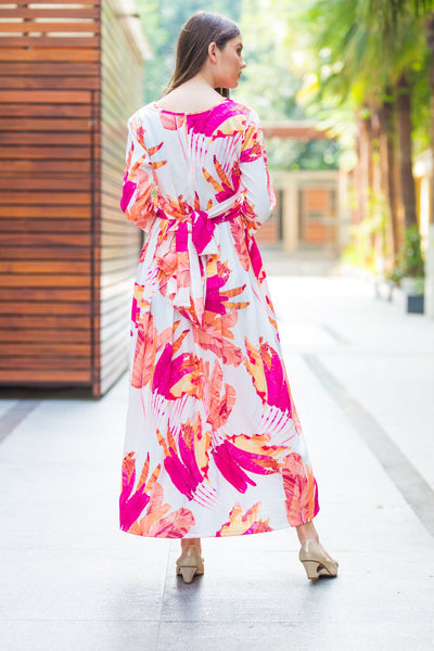 Tangy Floral Knot Maternity Midi Dress - MOMZJOY.COM