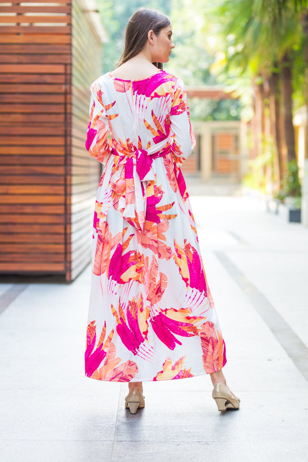 Tangy Floral Knot Maternity Midi Dress