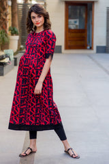 Abstract Red Maternity and Nursing Cotton Kurta