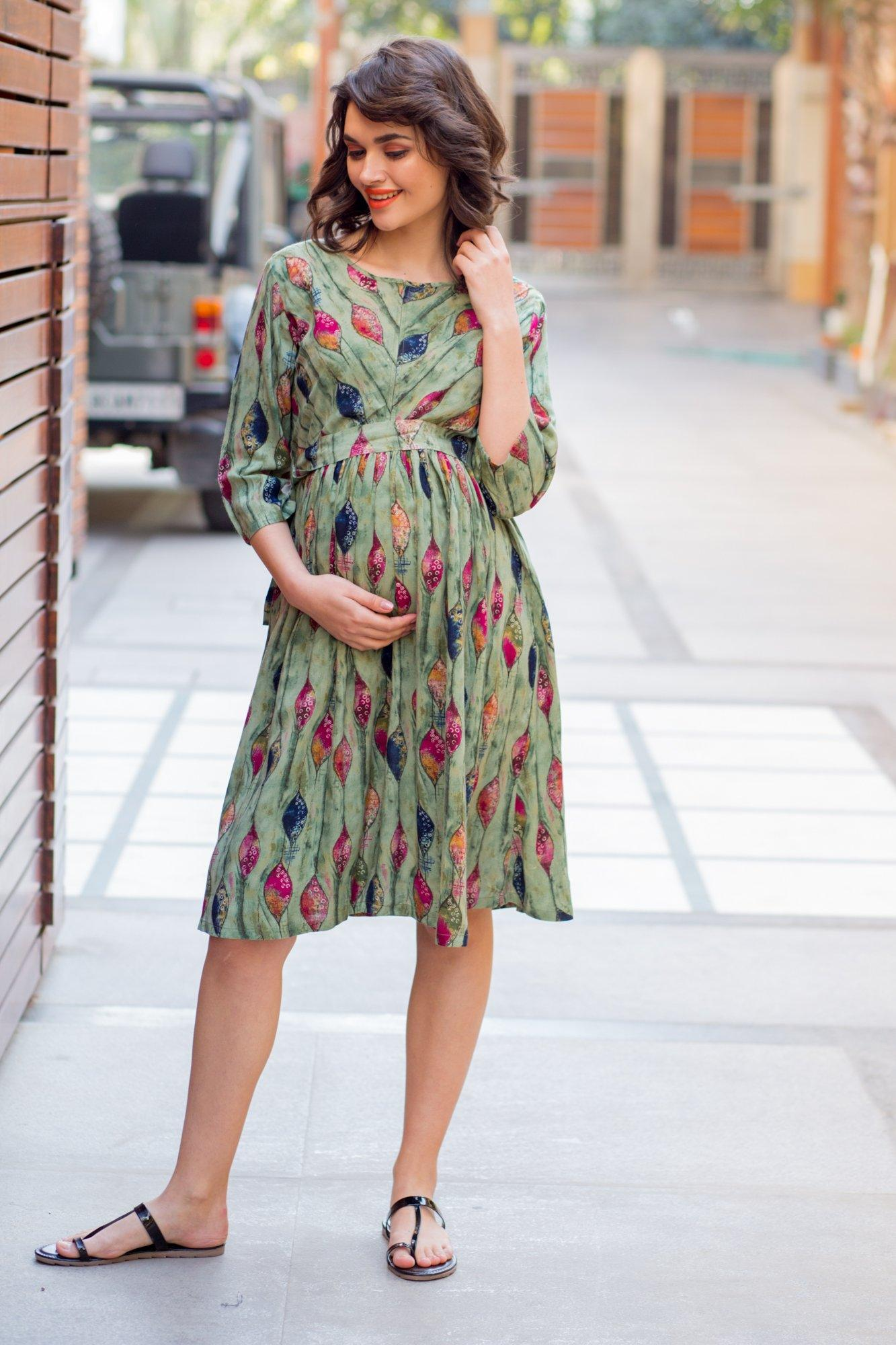 Soft Leafy Green Maternity & Nursing Dress