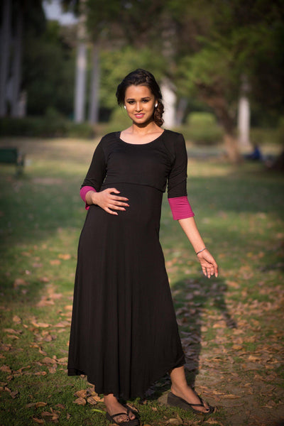 Elegant Black and Pink Lift Up Nursing Dress - MOMZJOY.COM