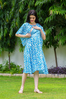 Sunflower Blue Maternity & Nursing Flap Dress