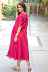 Premium Pink Bead Maternity Dress