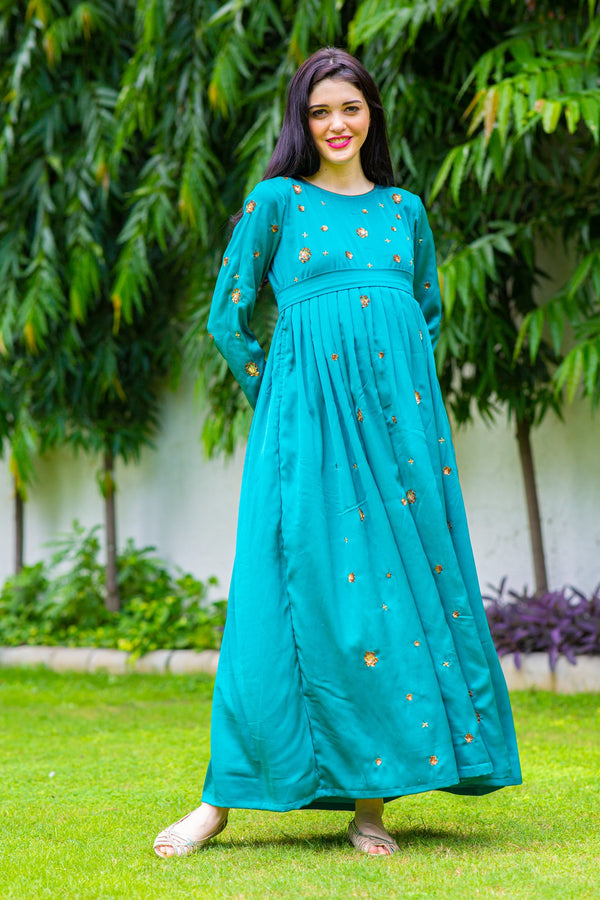 Luxe Green Hand Embroidered Maternity Dress