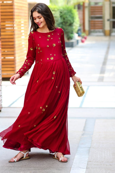 Premium Berry Chiffon Embroidered Maternity Dress