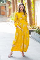 Candid Yellow Floral Maternity Knot Dress - MOMZJOY.COM