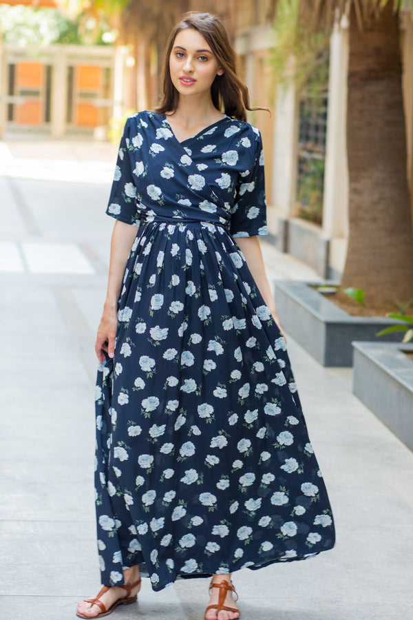 Navy White Blossom Maternity & Nursing Wrap Dress