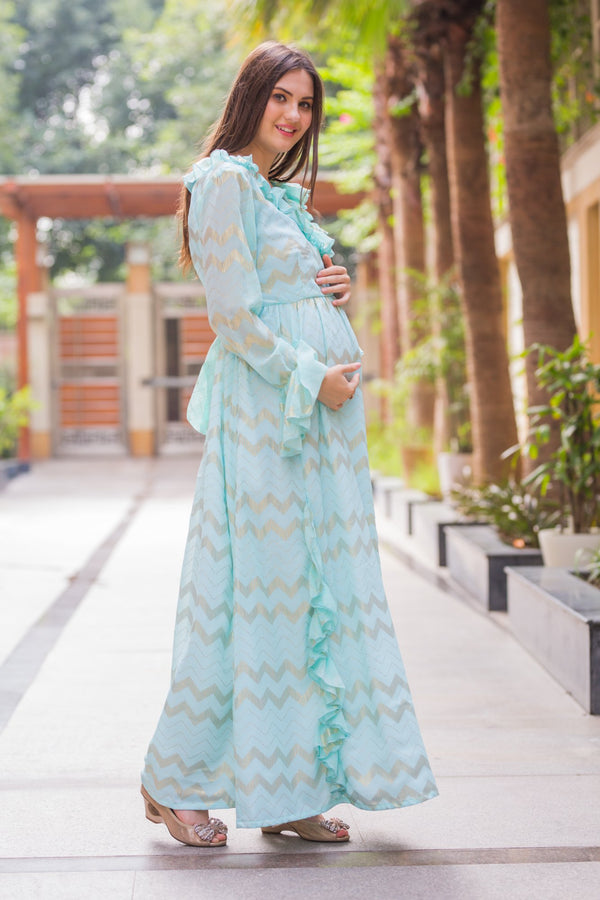 Pastel Blue Embellished Maternity & Nursing Dress - MOMZJOY.COM
