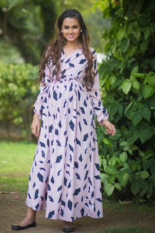 Petal Print Crepe Maternity & Nursing Wrap Dress