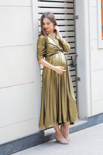 Exclusive Gold Front Knot Lycra Maternity Dress