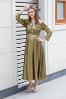 Exclusive Gold Front Knot Lycra Maternity Dress - MOMZJOY.COM