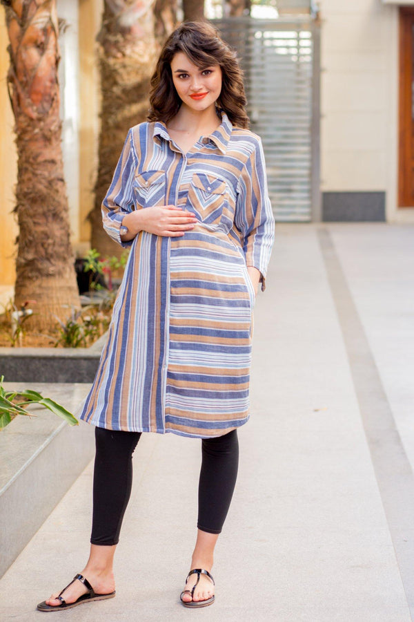 Viscose Striped Versatile Maternity & Nursing Shirt Dress - MOMZJOY.COM