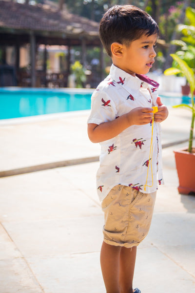 Playful White Bird Shirt(1 yr to 8 years) - MOMZJOY.COM