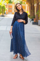 Luxe Blue Chiffon Black Maternity & Nursing Wrap Dress