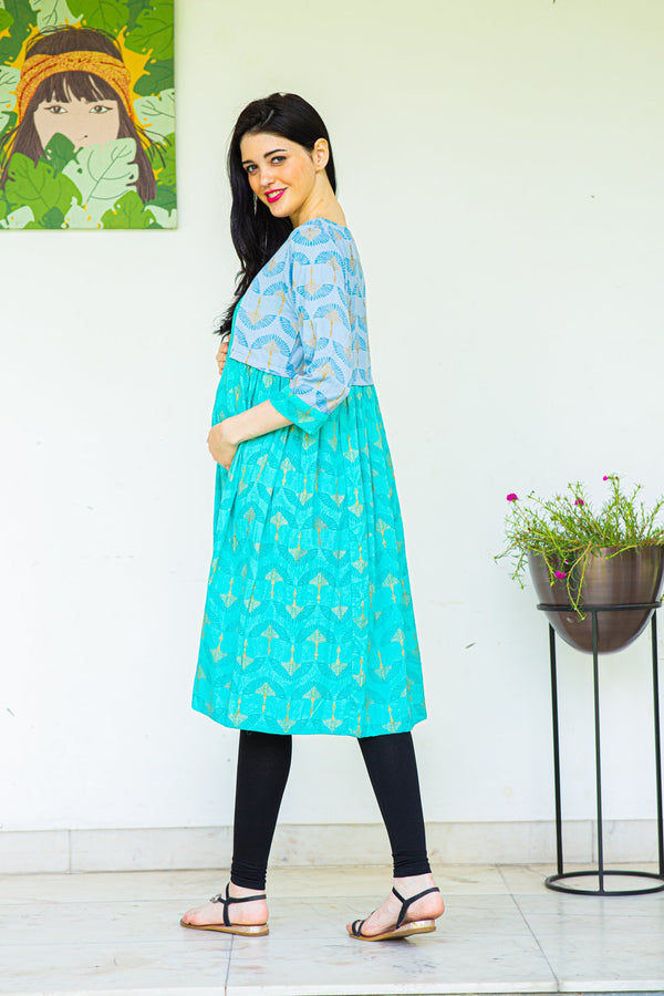 Mint Blue Jacket Style Maternity & Nursing Kurta