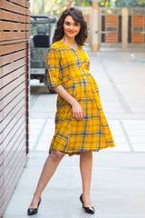 Spring Yellow Cotton Plaid Maternity & Nursing Dress