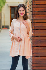 Premium Sujni Moon Patch Peach Maternity & Nursing Top