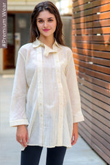 Premium Ivory Double Placket Khadi Nursing Shirt