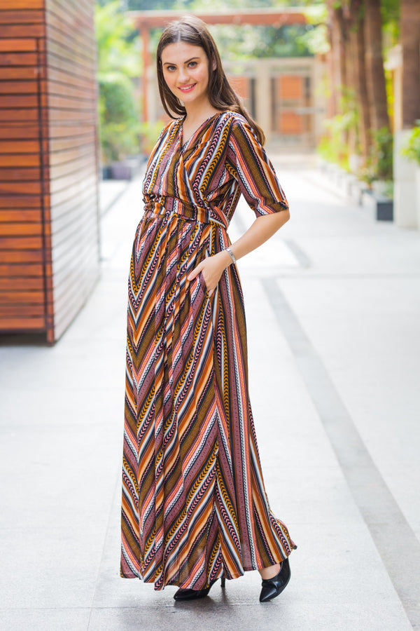 Dancing Striped Maternity & Nursing Wrap Dress