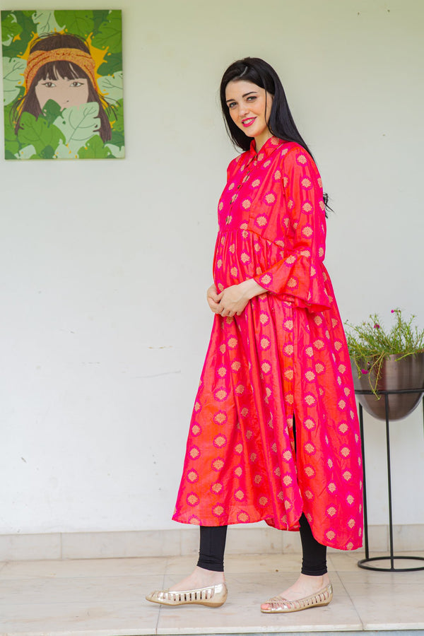 Red Luxe Maternity and Nursing Kurta Dress