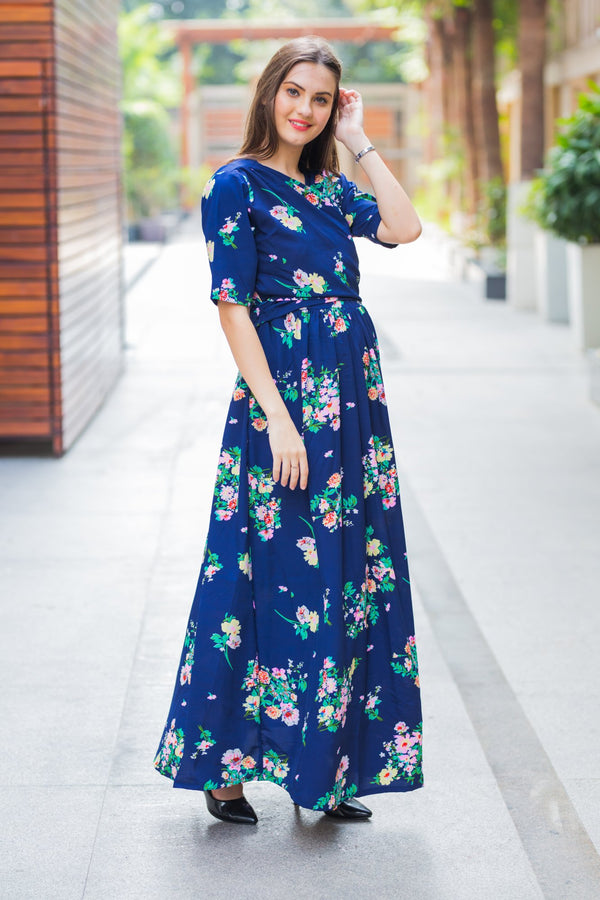 Midnight Blue Maternity & Nursing Wrap Dress - MOMZJOY.COM