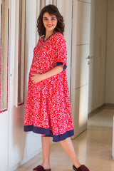 Tangerine Floral Maternity & Nursing Night Dress