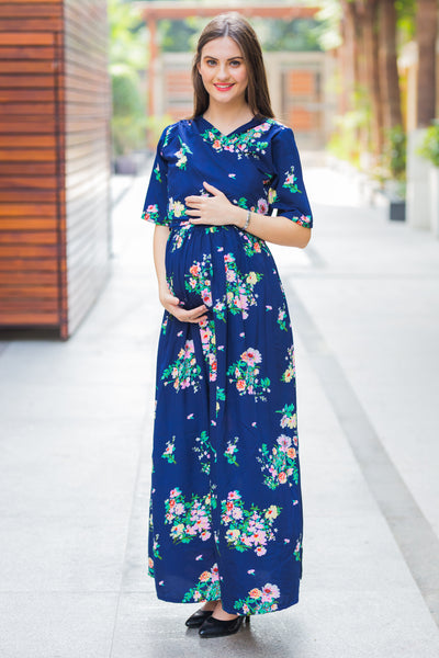 Midnight Blue Maternity & Nursing Wrap Dress