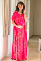 Delicate Pink Maternity & Nursing Night Dress - MOMZJOY.COM